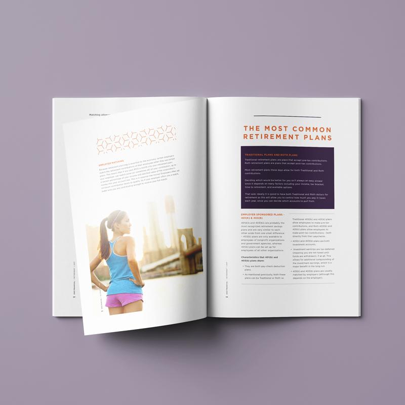 zoe financial brochure design spread 2