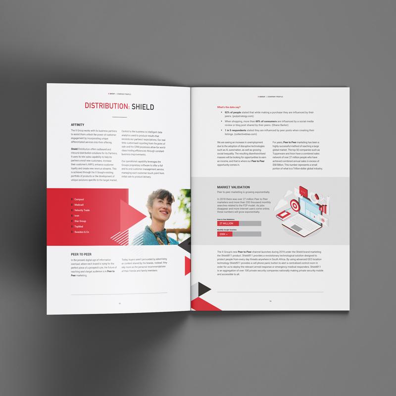 x group company profile spread 1